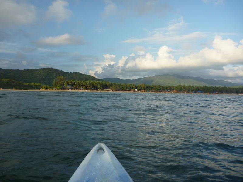 Palolem beach from seen from my sea kayak