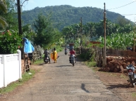 Main street of sleepy village of Agonda