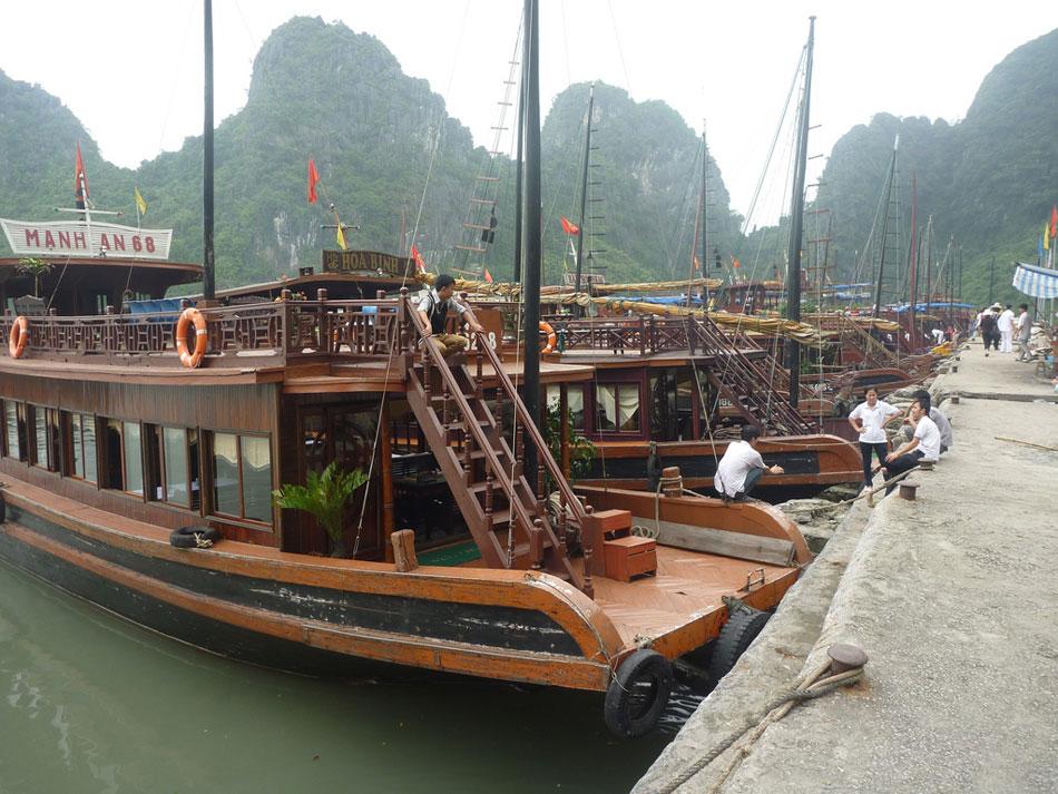 Boats await tourists