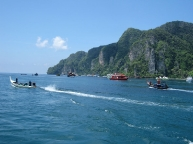 Boats coming and going in Phi Phi