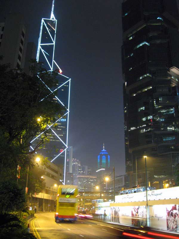 ong Kong island with the bank of China tower lit up
