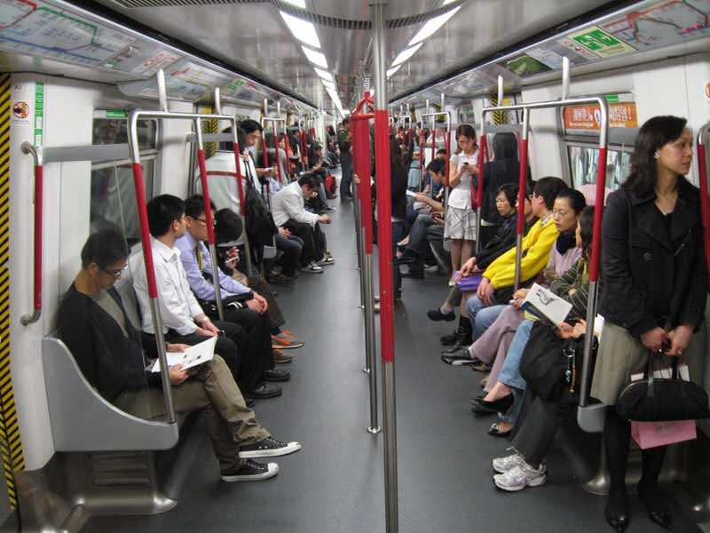 inside a Hong Kong subway car