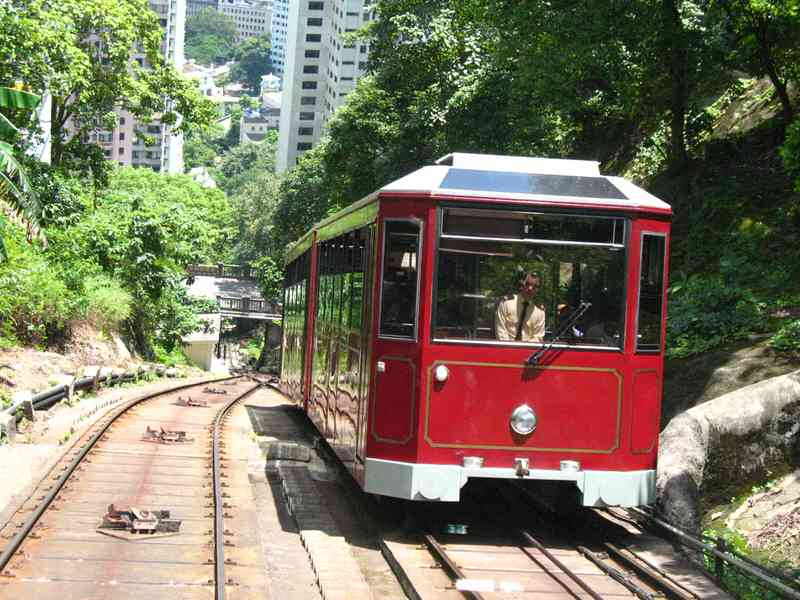 Peak Tram that goes up to Victoria Peak every 15 minutes