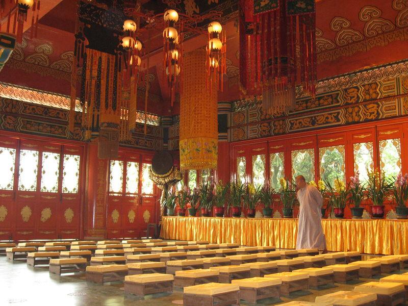 Monk inside Po Lin Monastery