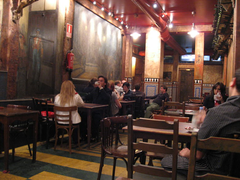 The decor of Madrid's cafe seen from the interior on one side
