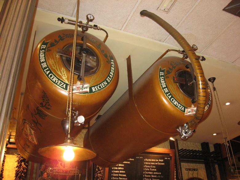 San Miguel barrels on ceiling