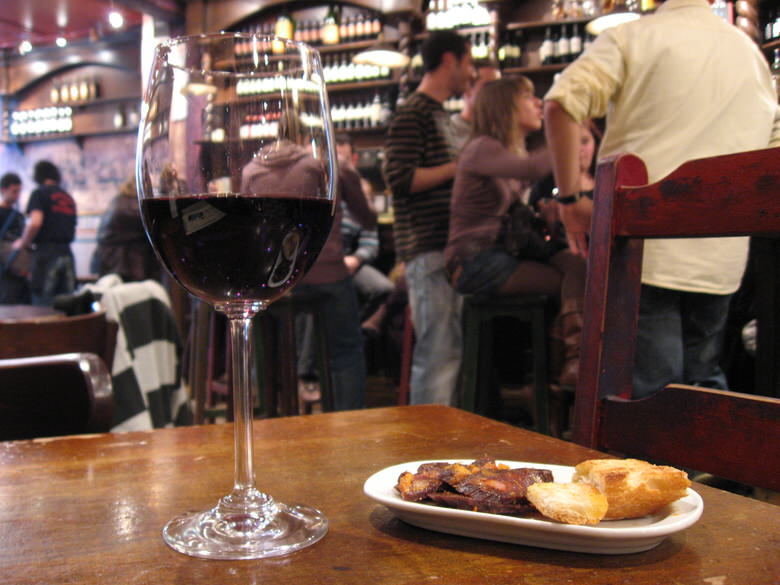 drinks are accompanied with some free tapas in Madrid cafe