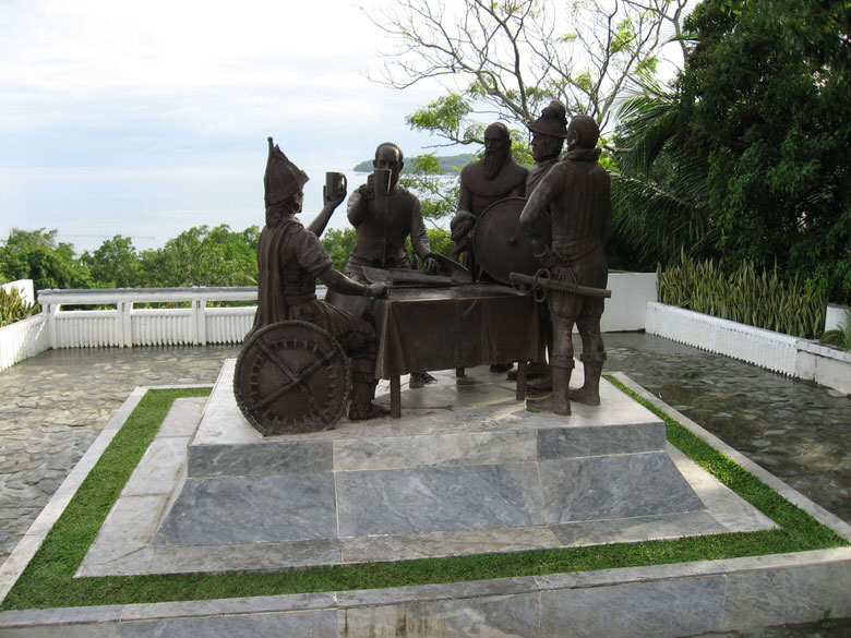 Blood compact site depicting the scene where Spaniard Colon Legazpi & tribal chief Sikatuna officially ceased hostilities with the symbolic gesture of making 'one blood' by mixing both their bloods with wine and drinking to their new peace agreement.