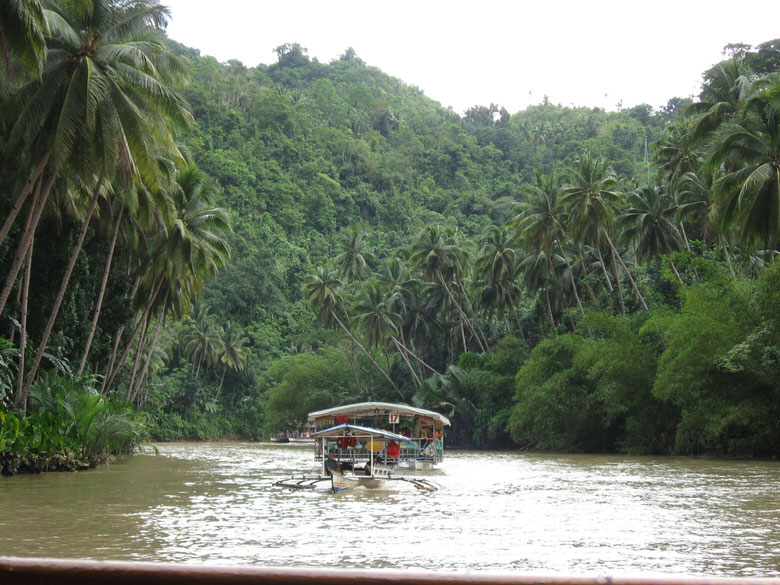 On the way back down the Bohol river cruise