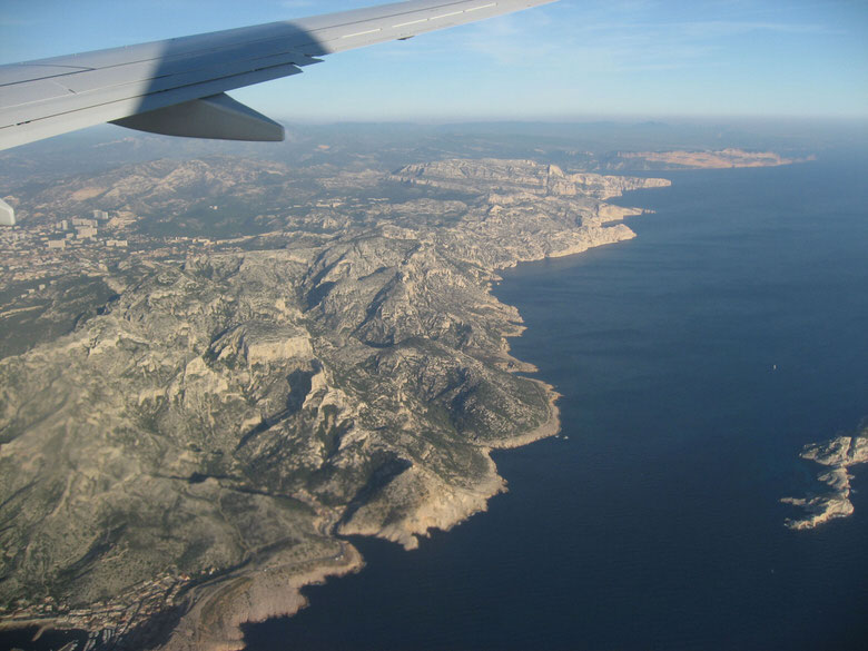 Flying over the Provence-Alpes-Cote d'Azur region