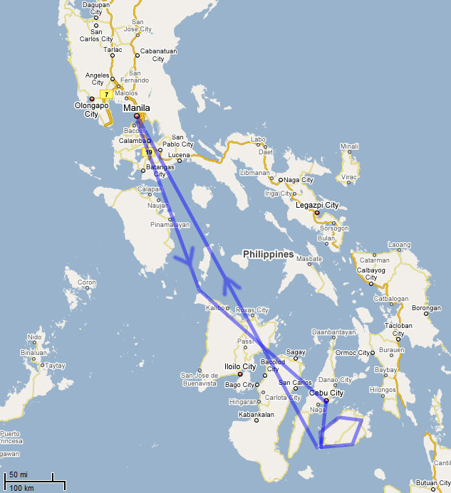 map of places I visited during my trip to the Philippines