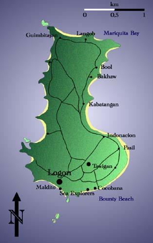 Map of the Island of Malapascua, Province of Cebu, Philippines
